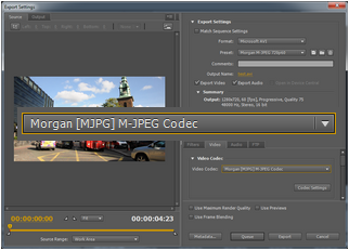 Adobe Premiere Pro CS5 - Morgan M-JPEG codec